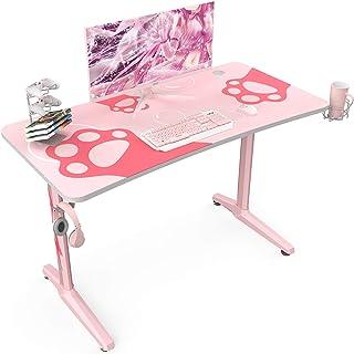 EUREKA - Escritorio ergonómico color rosa, 47 pulgadas, mesa de ordenador de escritorio con almohadilla de ratón, soporte para auriculares y controlador para niñas