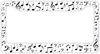 ThisWear Music License Plate Frame Music Notes Musician Gifts Marching Band Geek Symphony Orchestra Novelty License Plate Frame White