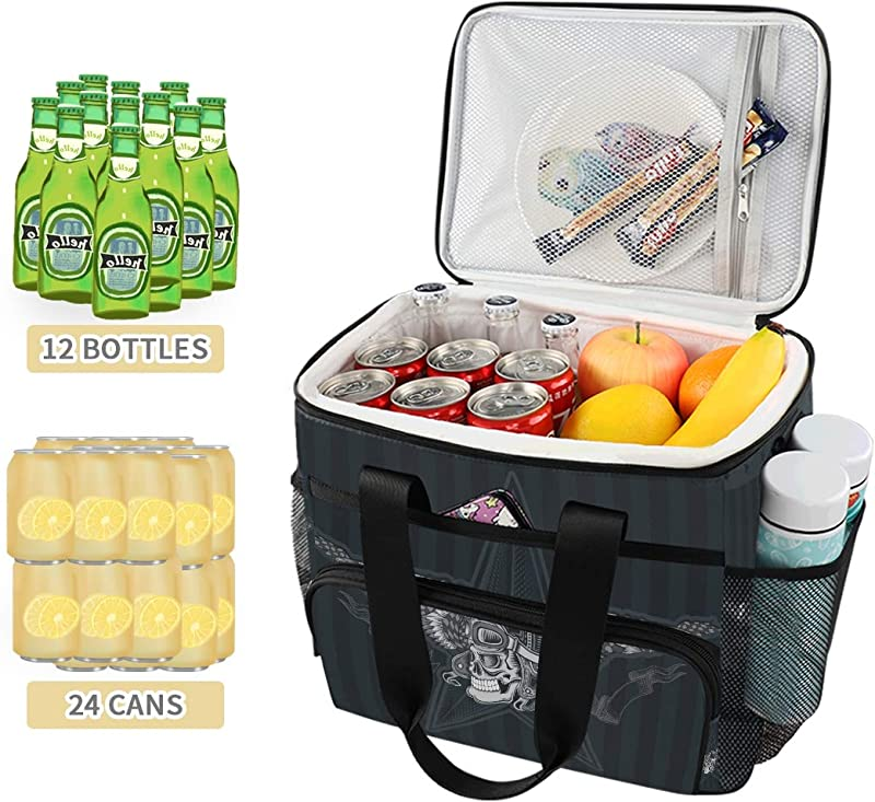 Skull With Vintage Motorcycle Premium 15L Picnic Basket Keeps Food Hot Cold For 12 Hours UPGRADED Lunch Tote For Picnics