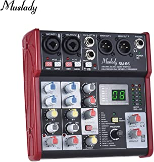 Muslady SM-66 Portable 4-Channel Sound Card Mixing Console Mixer Built-in 16 Effects with USB Audio Interface Supports 5V Power Bank for Recording DJ Network Live Broadcast Karaoke