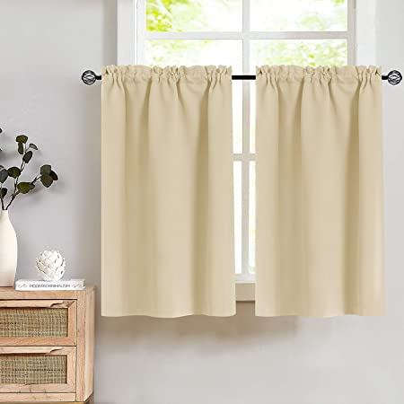 Lazzzy Kitchen Curtains Tier Curtains Beige Window Curtain Set Cafe Curtains for Living Room Darkening Bedroom Bathroom 24 Inch Length Thermal Insulated Drapes 2 Panels