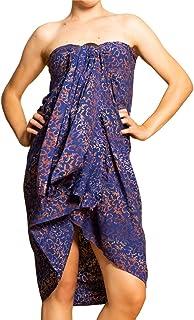 PANASIAM Sarong i blåa toner, halsduk, strandhandduk, omlottklänning, högsta kvalitet, mjuka naturämnen