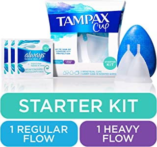 Tampax Menstrual Cups Starter Kit, Tampon Alternative, Heavy and Regular Flow Multipack, Reusable, 12 Hours of Flexible Co...