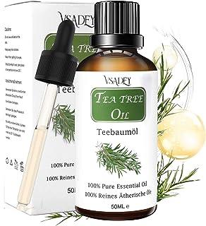 VSADEY Aceite Esencial de Árbol de Té Orgánico 100% Puro y Natural Aceite De Arbol de Té Aceites Esenciales Tea Tree Essential Oil Para Masaje, la Cara y Cuerpo Tratamiento Acné Para Piojos-50ml