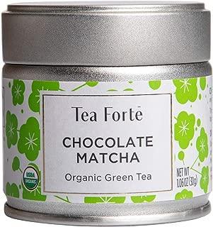 Tea Forte Organic Matcha Green Tea Powder, For Hot or Cold Matcha Tea or Latte 1.06 oz Canister (12 Servings), Chocolate Matcha