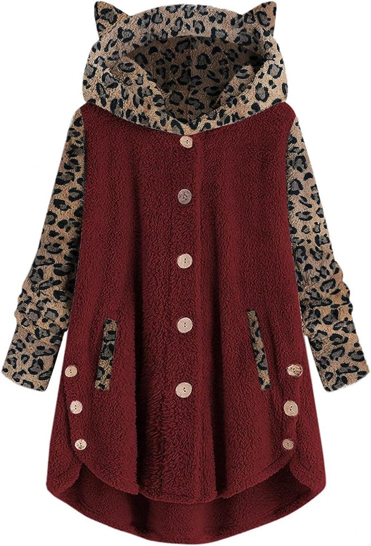 Leopard Hoodie Sweater for Women Oversized Button Plush Tops Fleece Fuzzy Pocket Warm Coat Jacket Outwear Winter