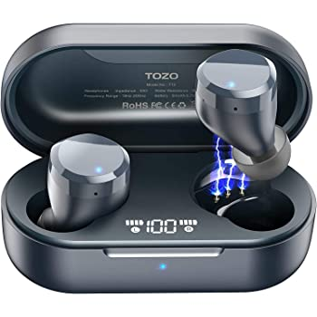 TOZO T12 Wireless Earbuds Bluetooth Headphones Premium Fidelity Sound Quality Wireless Charging Case Digital LED Intelligence Display IPX8 Waterproof Earphones Built-in Mic Headset for Sport Blue