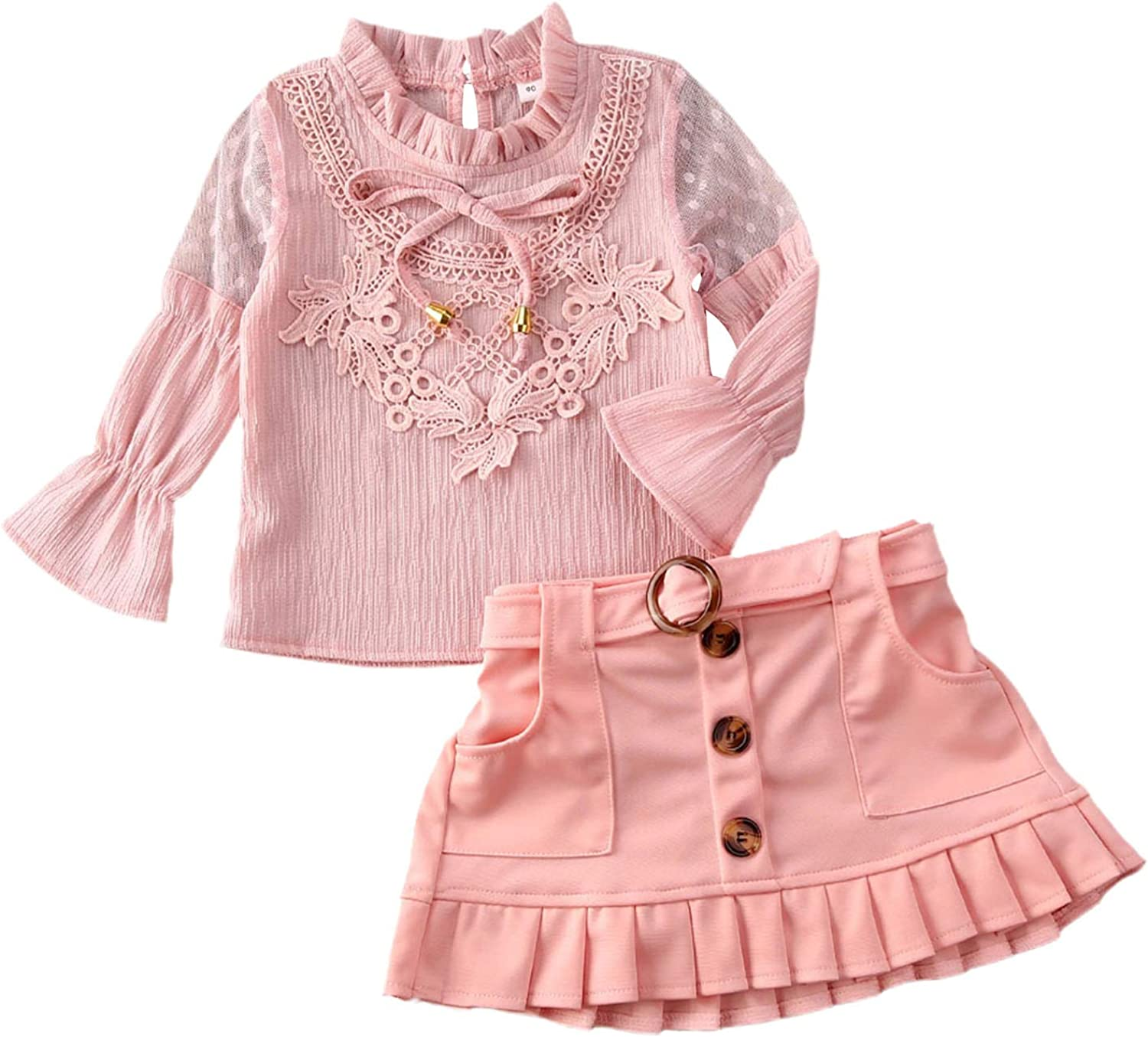 2Pcs Kid Girl Summer Fixed price for 70% OFF Outlet sale Outfits Pink A-line Top Skirt T-Short Mini