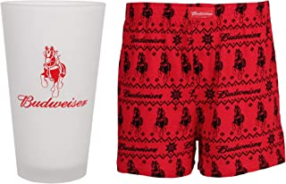 Budweiser Pint Glass Gift Set with Men's Cotton Boxer Shorts
