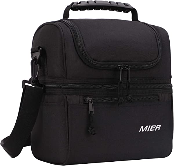 MIER 2 Compartment Lunch Bag For Men Women Leakproof Insulated Cooler Bag For Work School Black