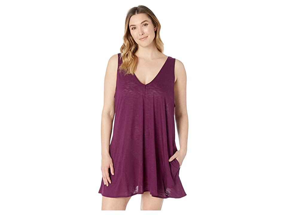 BECCA by Rebecca Virtue Plus Size Tank Dress Cover-Up (Merlot) Women