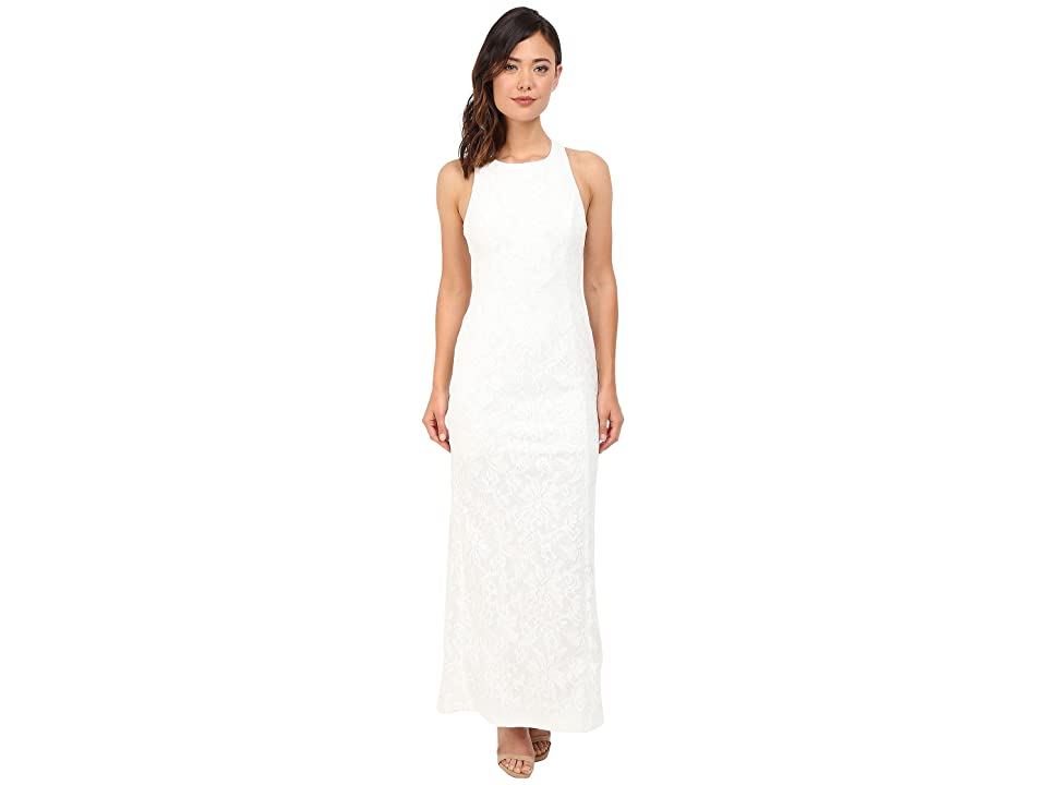 Calvin Klein Halter Neck Lace Gown CD6B1V6E (White) Women