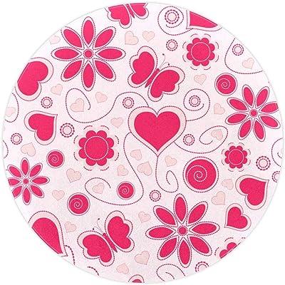 AIBILI Alfombra redonda de área de algodón, lavable, elegante ...