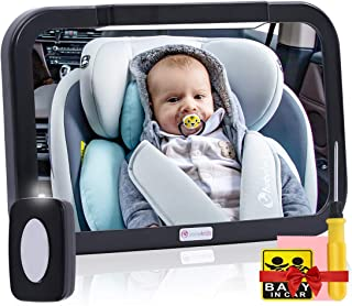Baby Car Mirror with Light, Innokids Dual Mode LED Lighting by Remote Control, Clear View of Infant in Rear Facing Back Seat While Night Driving (Black)