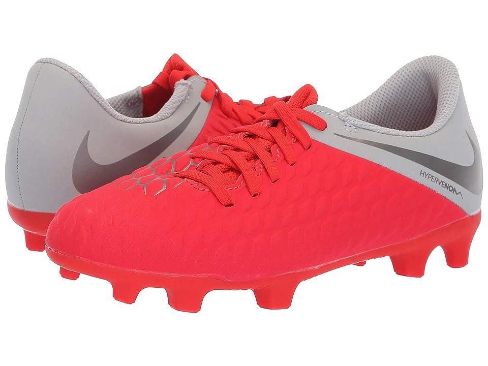 Nike Kids Hypervenom Phantom 3 Club Firm Ground Soccer (Toddler/Little Kid/Big Kid) (Light Crimson/Metallic Dark Grey/Wolf Grey) Kids Shoes