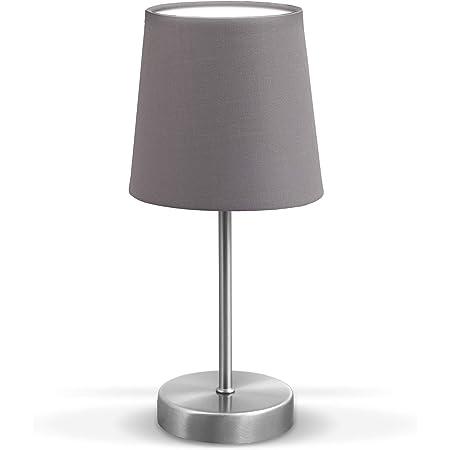 B.K.Licht lampe de table design moderne, Lampe de Chevet tissu gris, pied métal nickel mat, pour ampoule LED E14, IP20
