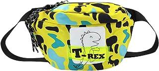 ZGMYC Kids Cartoon Dinosaur Fanny Pack Waist Bag Canvas Camouflage Pattern Crossbody Purse Running Belt Bag for Toddlers Boys