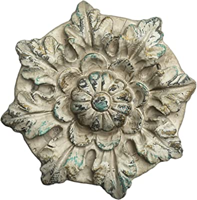 Benjara, White Distressed Floral Design Magnesia Wall Decor with Hanging Hook
