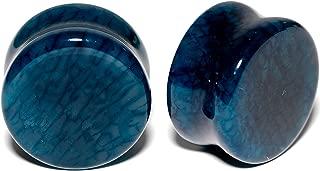 Unisex 2PC Organic Solid Blue Stone Saddle Plugs Double Flare Plug Set Ear Plug Gauges
