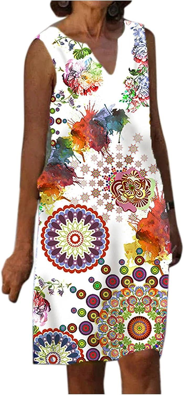iQKA Women Tank Dress Retro Floral Print V-Neck Sleeveless Short Mini Dresses Graphic Shirt Dress Vestidos