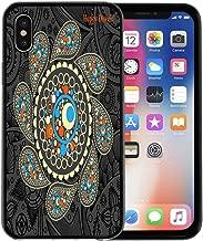 Semtomn Phone Case for Apple iPhone Xs case,Deepavali Rangoli Indian Paisley Pattern Folkart for iPhone X Case,Rubber Border Protective Case,Black