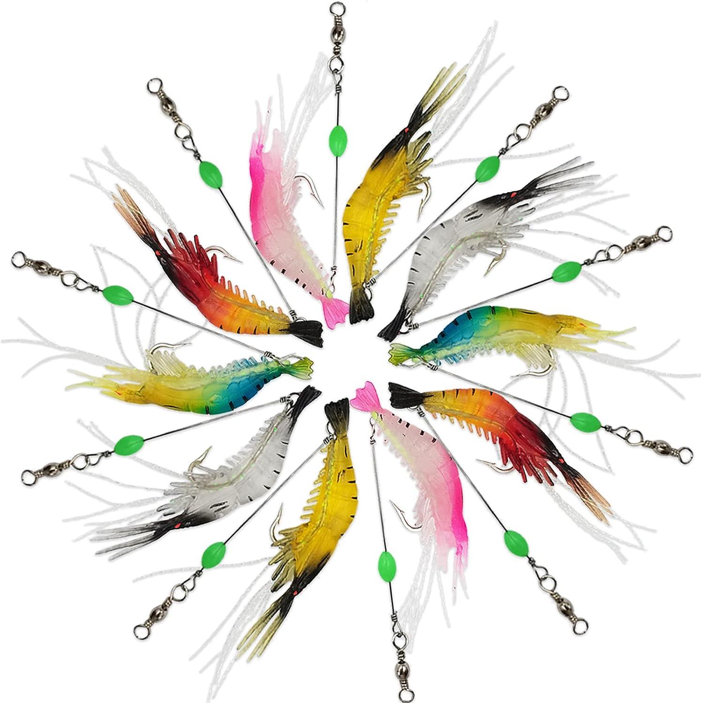 10pcs Shrimp Bait Set Plastic Shrimp Fishing Lures Soft Luminous Fishing Lure with Sharp Hook Fishing Tackles