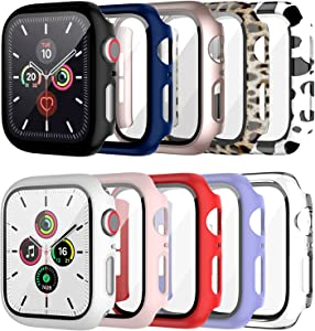 10 Pack Case for Apple Watch Series 3/2/1 42mm with Tempered Glass Screen Protector, BHARVEST High Definition Scratch Resistant Hard PC Bumper Cover for Apple Watch Accessories (10 Colors, 42mm)