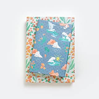 Happy Hawaii/Kawaii Waves, Whales, Sunshine & Rain Clouds Designer Gift Wrap (6 Sheet Value Pack) - Reversible - Eco-Friendly Wrapping Paper by Wrappily