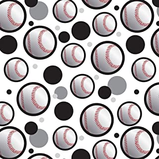 Premium Gift Wrap Wrapping Paper Roll Pattern - Baseball Ball Sport American National - Ball on Black