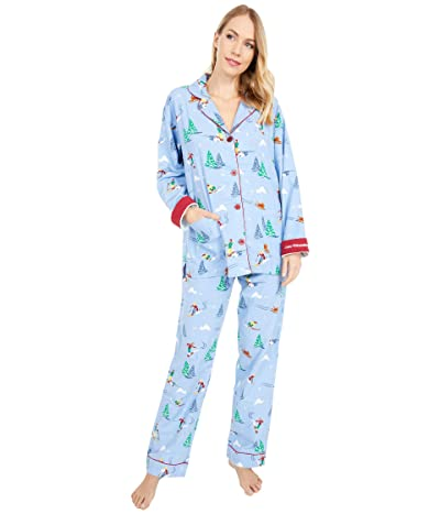 P.J. Salvage Vitamin Ski Flannel Pajama Set (Powder Blue) Women