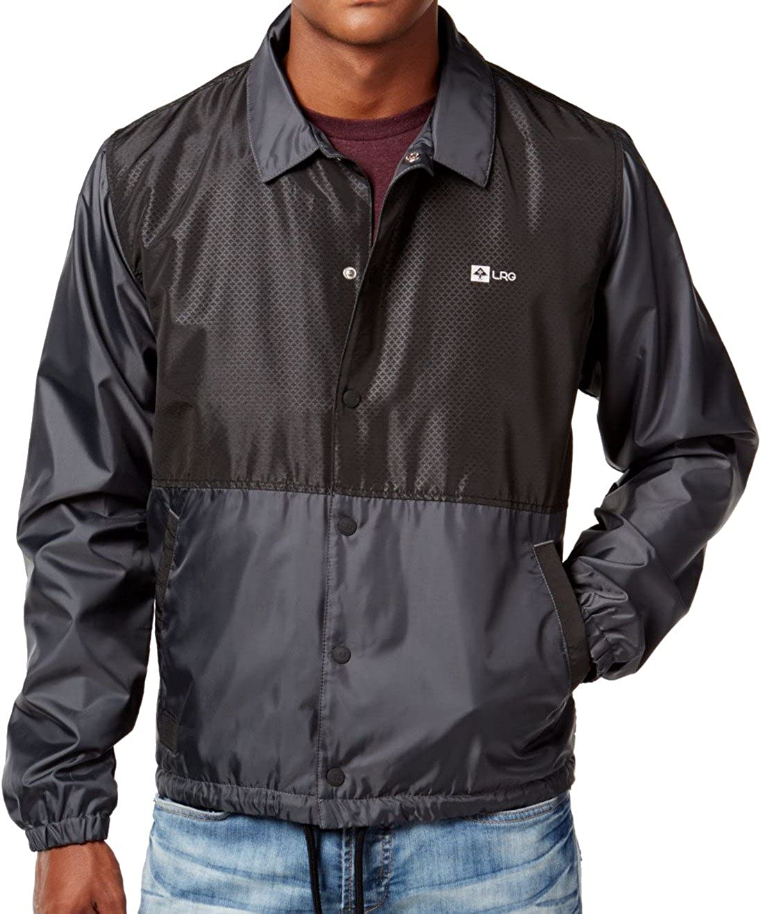 LRG High Definition Black Grey Metallic Lining Windbreaker Men's Jacket