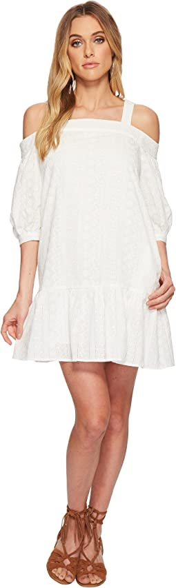 Eyelet Drop Waist Cold Shoulder Dress