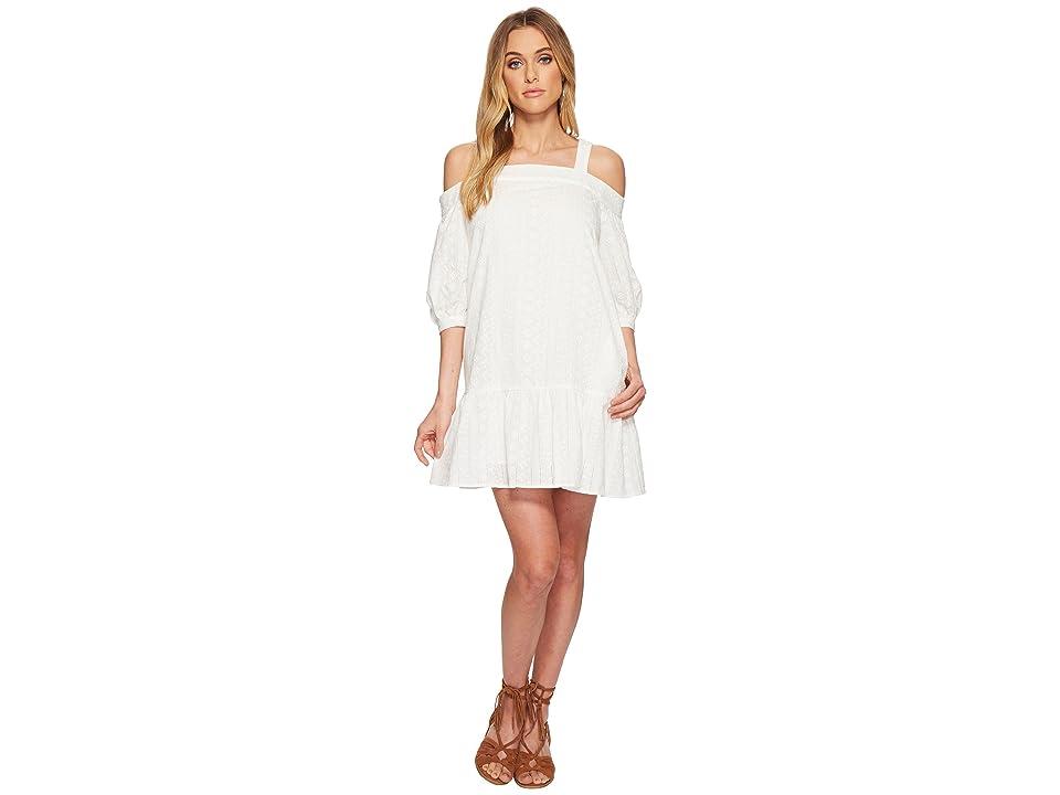 J.O.A. Eyelet Drop Waist Cold Shoulder Dress (White) Women