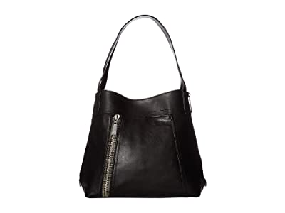 Frye Lena Zip Shoulder (Black Soft Lambskin) Shoulder Handbags