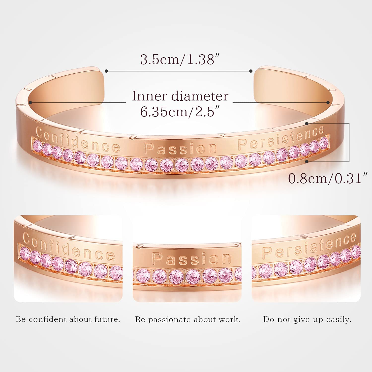 Inspirational Jewelry Gifts for Women Mom Cuff Bangle Bracelets Engraved Birthstone Graduation Birthday Gift for Her Sister Daughter Friends