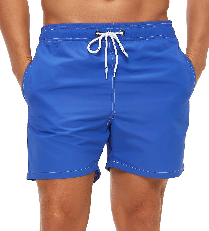 Tyhengta Men's Swim Trunks Quick Dry Beach Shorts with Mesh Lining