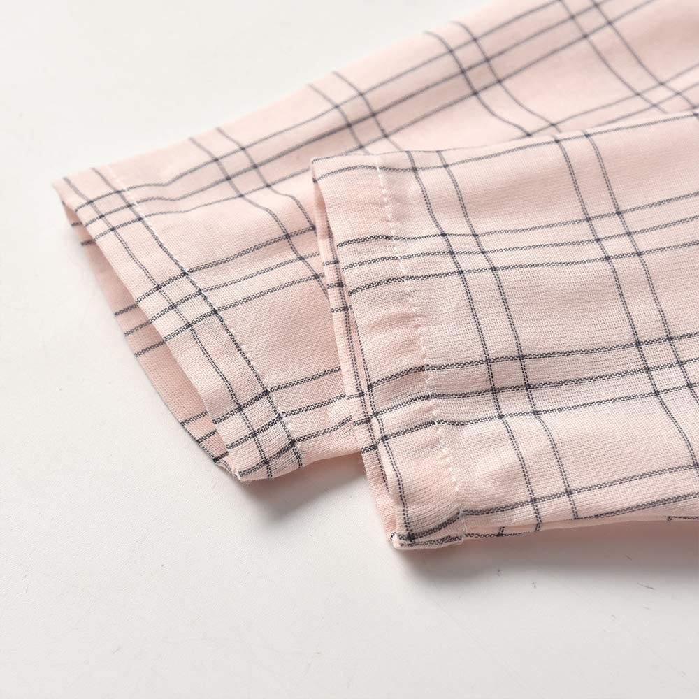 WOBIG Toddler Baby Boys Girls Cotton Pajamas Set Long Sleeve Button-end Shirt Top+Pant 2Pcs Infant Sleepwear(Striped Pink,130/6T)