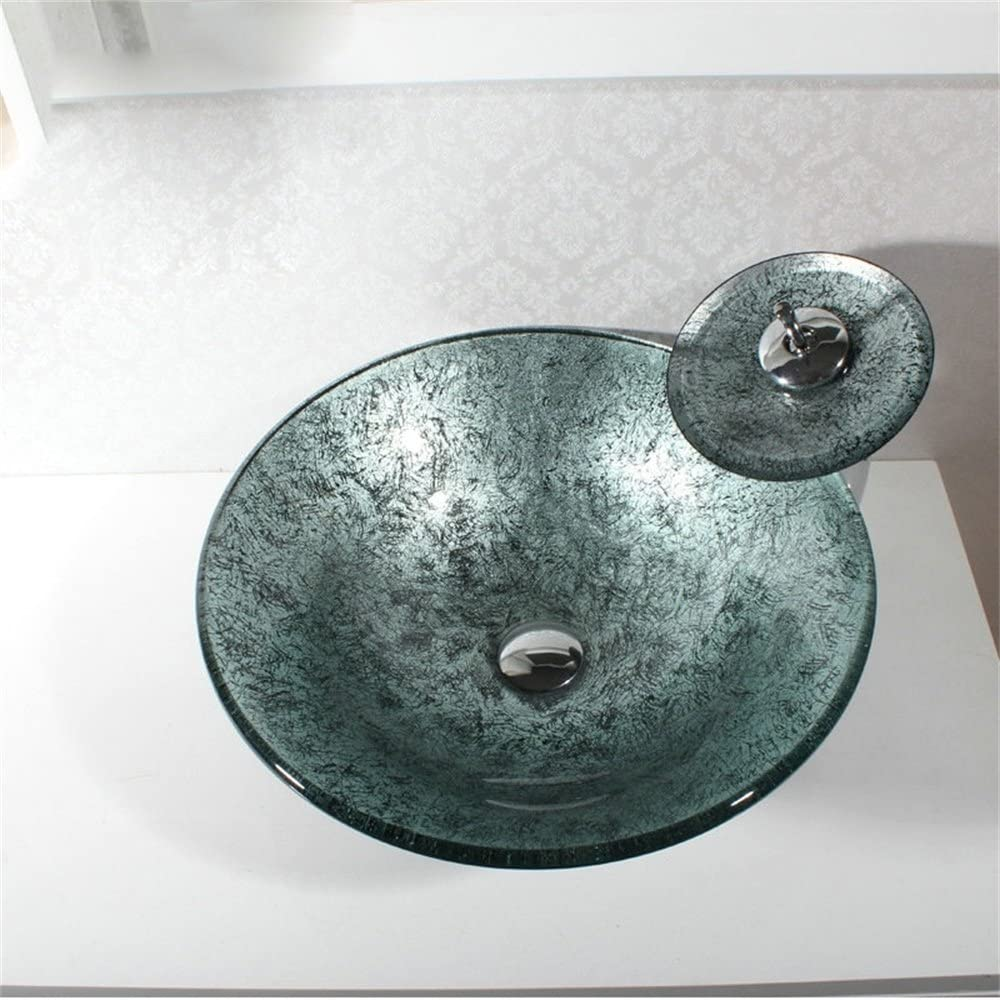 HomeLava Tempered Glass Bathroom Sink With Waterfall Tap Water Drain and Mounting Ring