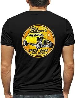 Milner's Speed Shop Hot Rod Rat Nostalgia Drag Race Racing NHRA White Short Sleeve Shirt