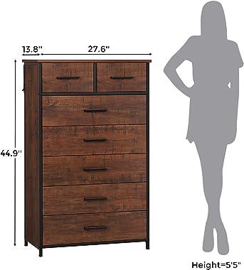 Hasuit 7 Drawer Tall Dresser, Industrial Storage Tower Clothes Organizer (Walnut)