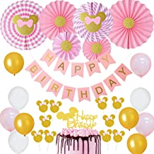 Minnie Themed Party Decorations Pink and Gold Minnie Paper Fans Glitter Cake Topper Cupcake Toppers for Girls 1st 2nd 3rd Birthday Supplies