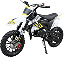 SYX MOTO Kids Dirt Bike Holeshot-X 50cc Gas Power Mini Dirt Bike 20inches Seat Height Dirt Off Road Motorcycle, Pit Bike Fully Automatic Transmission,White with Yellow decal
