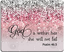 Smooffly Psalm 46:5 God is Within Her,She Will not Fall- Bible Verse Pink Sparkles..