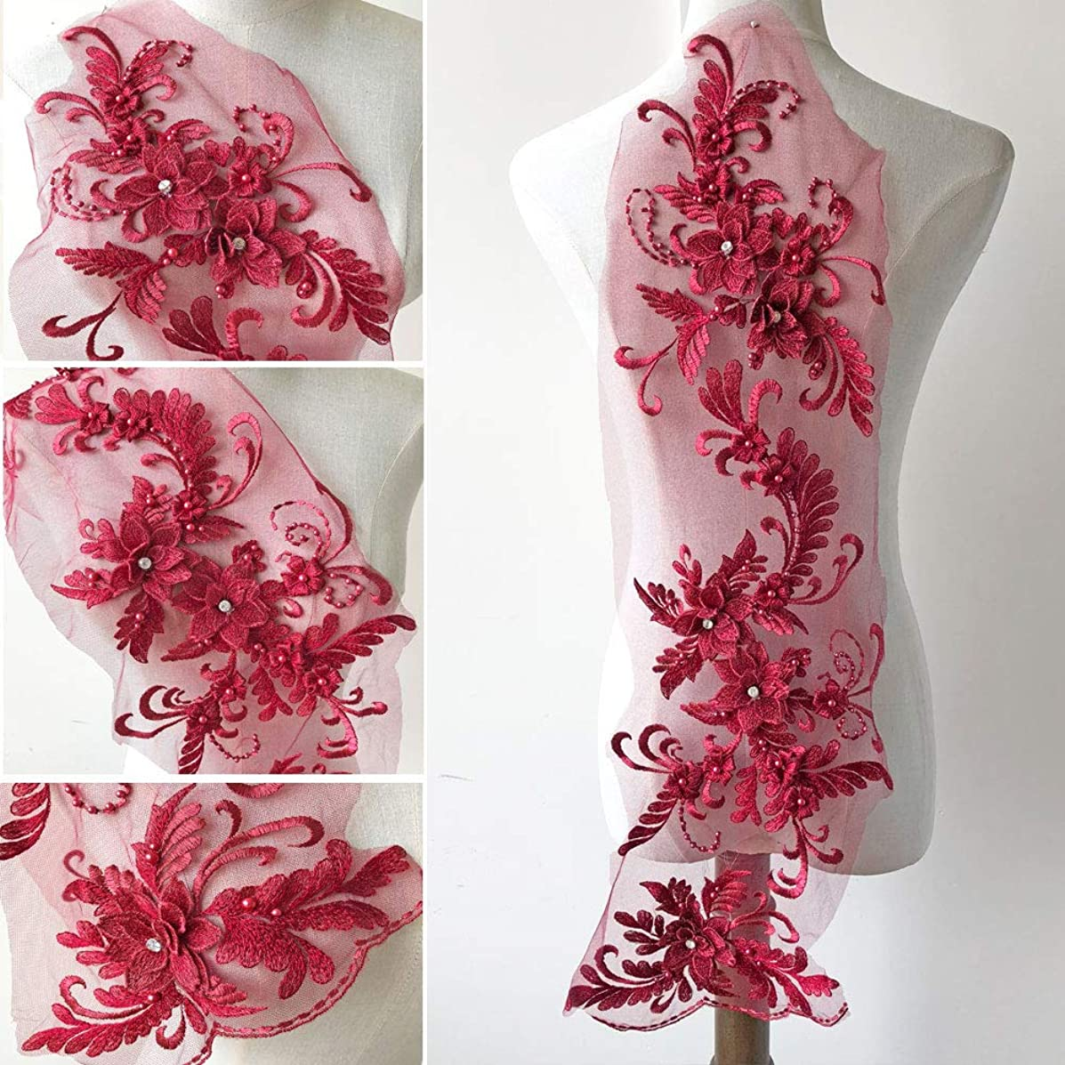 3D Beaded Flower Embroidery Lace Patch Applique Crystal Sewing Lace Motif for Dance Costumes Ballgown (Burgundy)