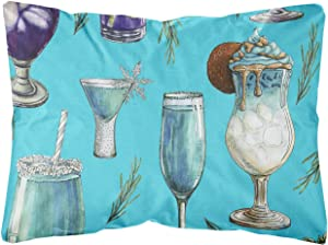 Caroline's Treasures BB5203PW1216 Drinks and Cocktails Blue Canvas Fabric Decorative Pillow, 12H x16W, Multicolor