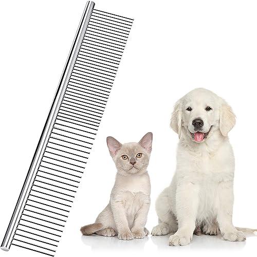 Pettine per Animali Domestici in Acciaio Inossidabile Pettine per Toelettatura, Pettine a Denti Arrotondati per Cani ...