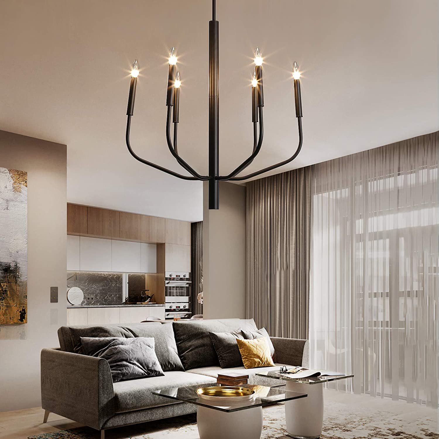 NEWSEE Black Chandelier 6-Light Farmhouse Light Fixture 67% OFF of fixed price Outlet ☆ Free Shipping I Rustic