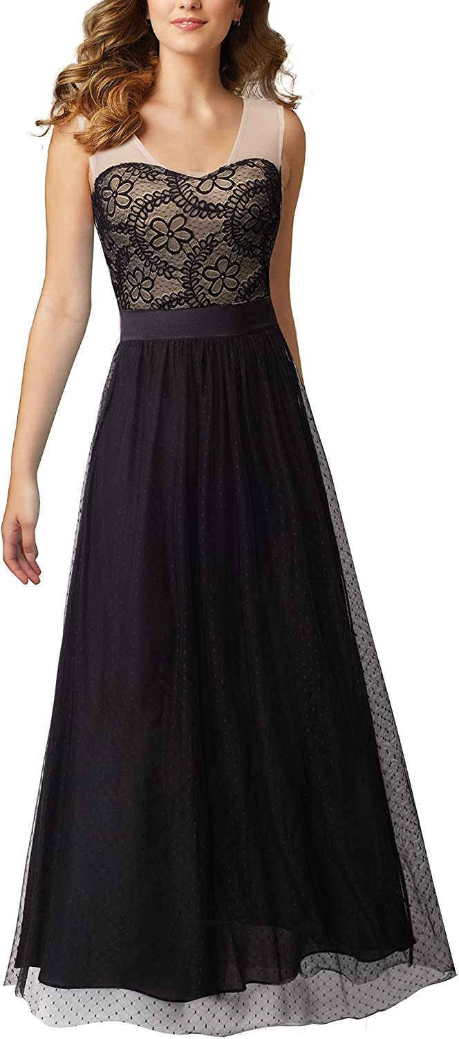 HOMEYEE Women's Elegant Sleeveless Mesh Maxi Formal Dress A039