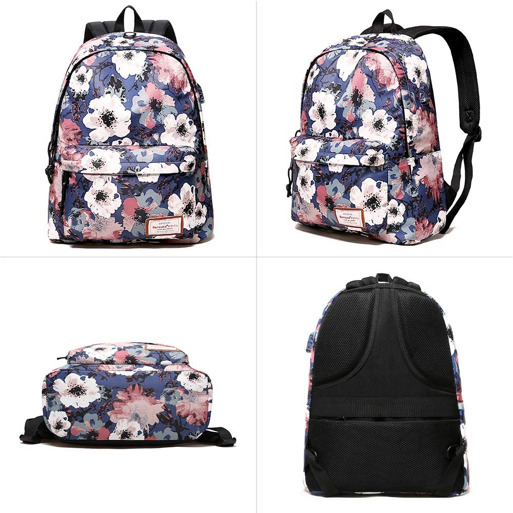Casual Daypack Backpack Travel Laptop Backpack with USB Charging Headphone Port