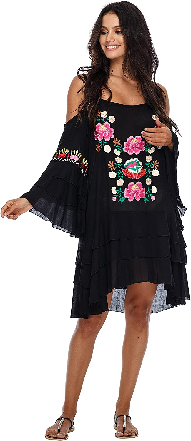 2021 model SHU-SHI Womens Embroidered Dress Bohemian Cold Sw Max 89% OFF Shoulder